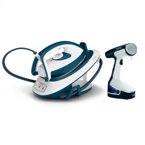 Express Compact SV7110 Steam Generator Iron & Clothes Steamer BUNDLE - Teal / White