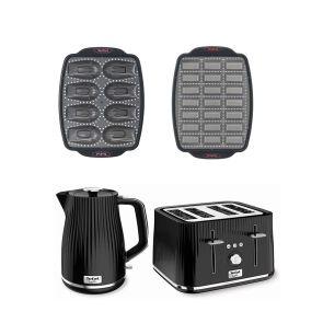 Afternoon Tea Bundle TT760841 - Loft Kettle & Toaster + 2 Cake Factory Moulds - Black